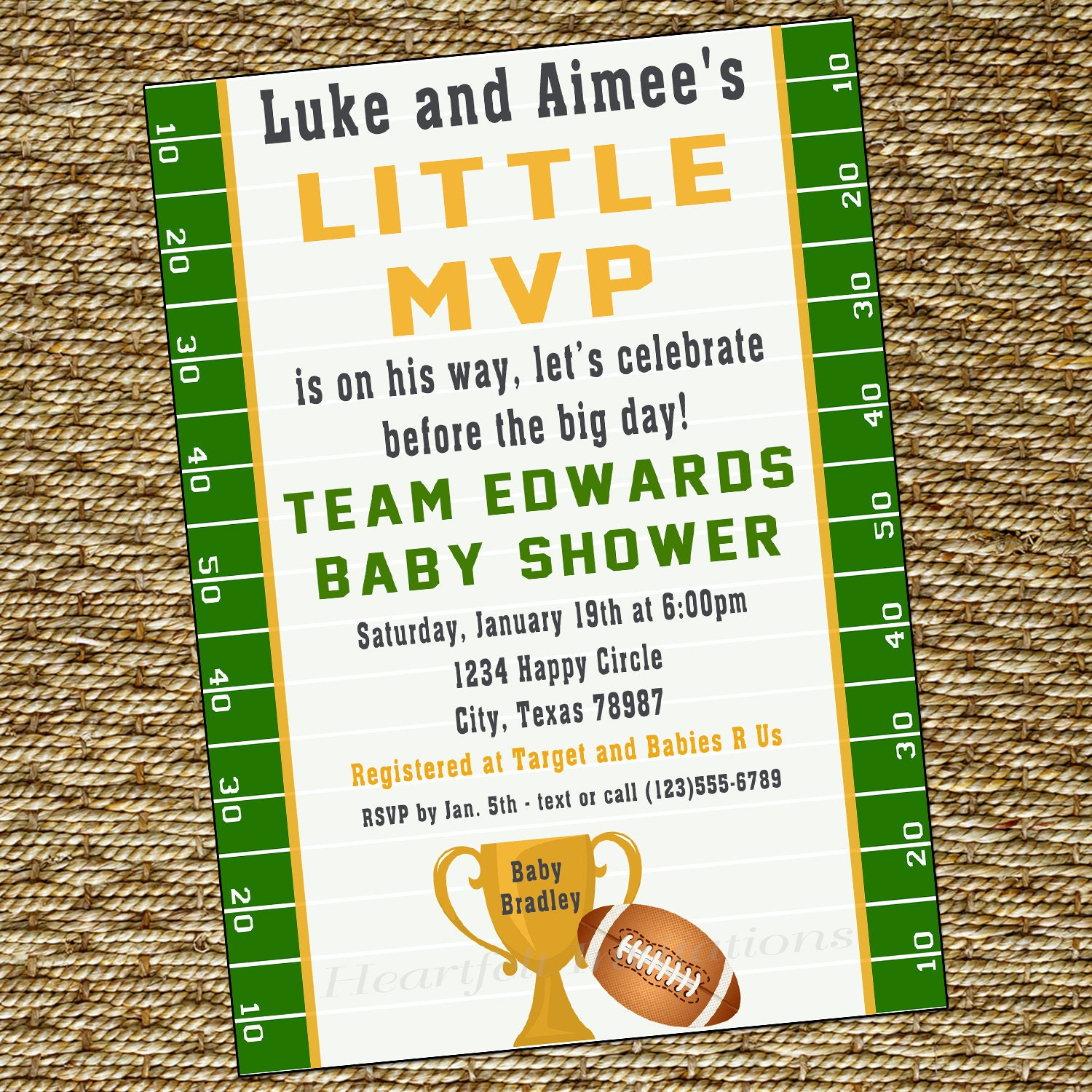 items similar to mvp football baby shower invitation couples sports