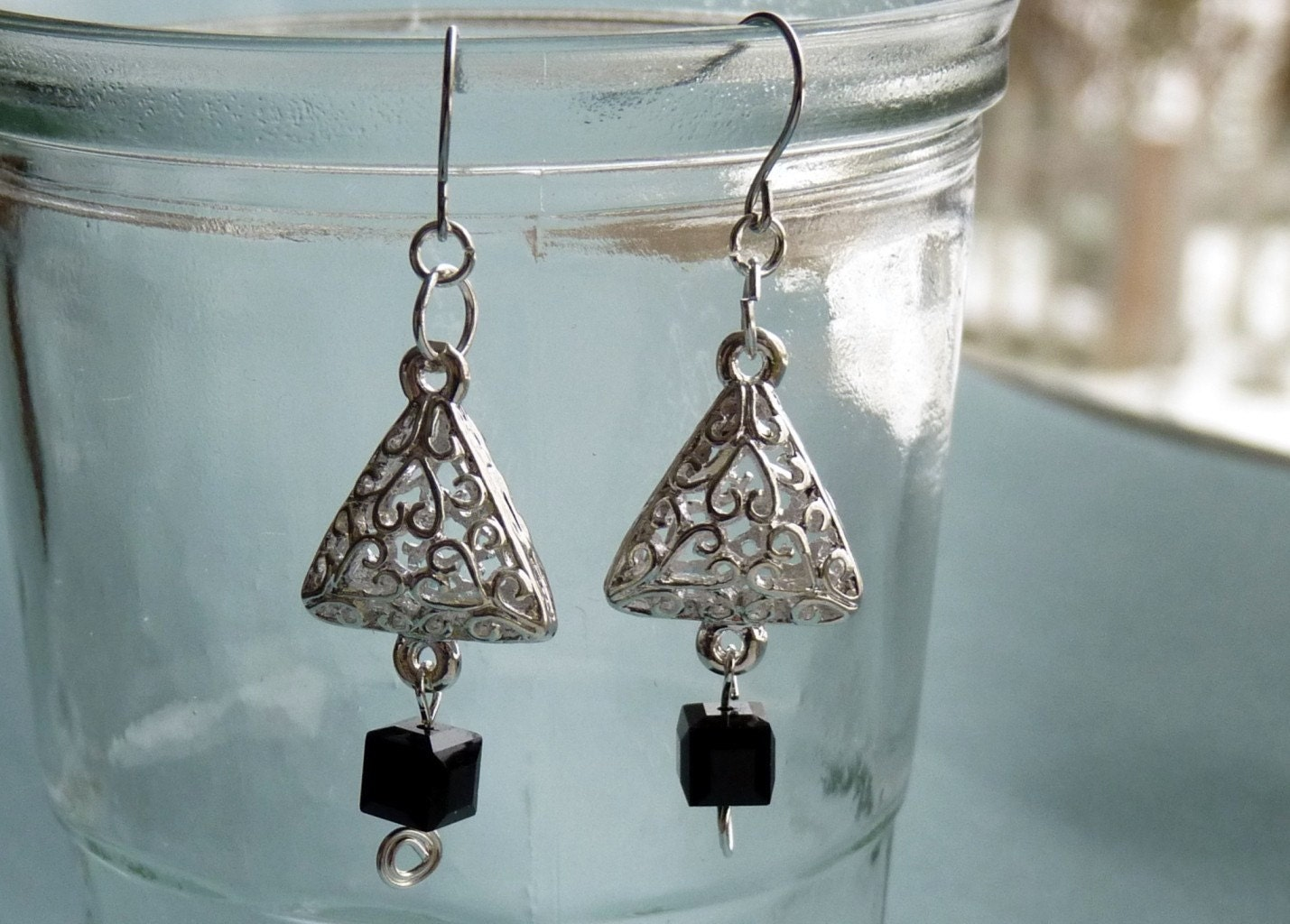 Black and White Holiday Earrings