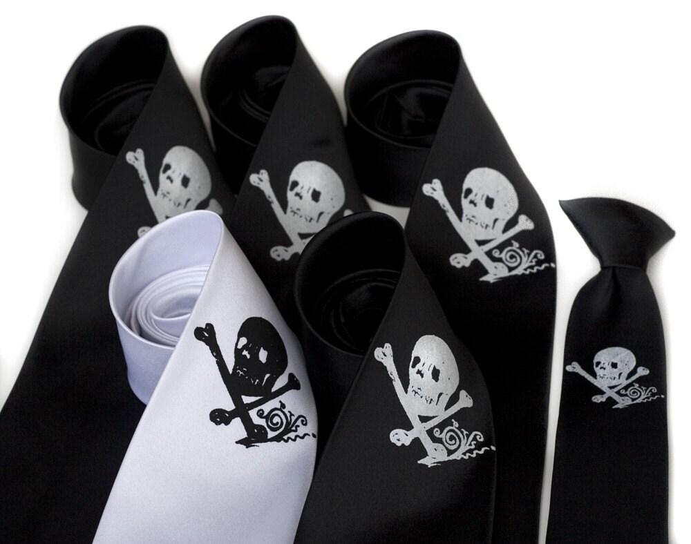Pirate wedding tie package - 6 skull groomsmen microfiber neckties, wedding discount