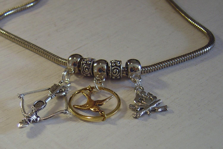 Hunger Games mockingjay pandora style charm necklace