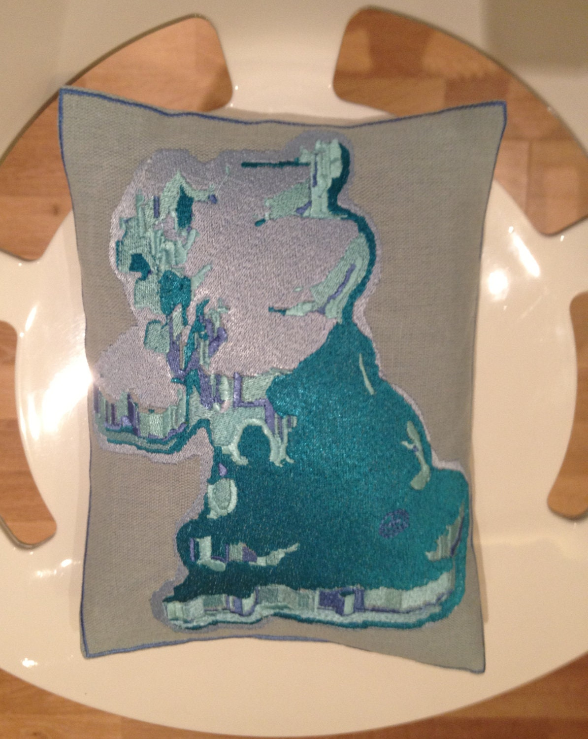 United Kingdom, Uk Abstract Embroidery Teal Throw Pillow