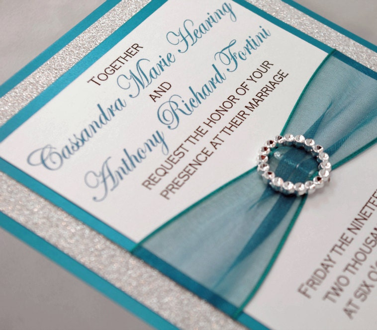 Teal And Silver Glitter Wedding Invitation Full Of By