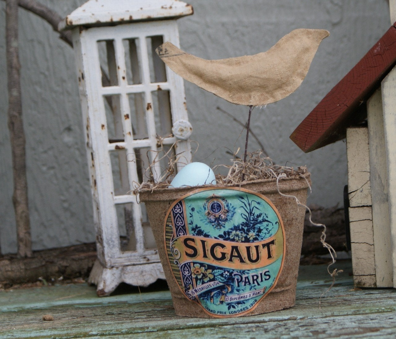 Spring/Summer birds nest peat pot, shabby chic, french market, cottage, rustic, Paris