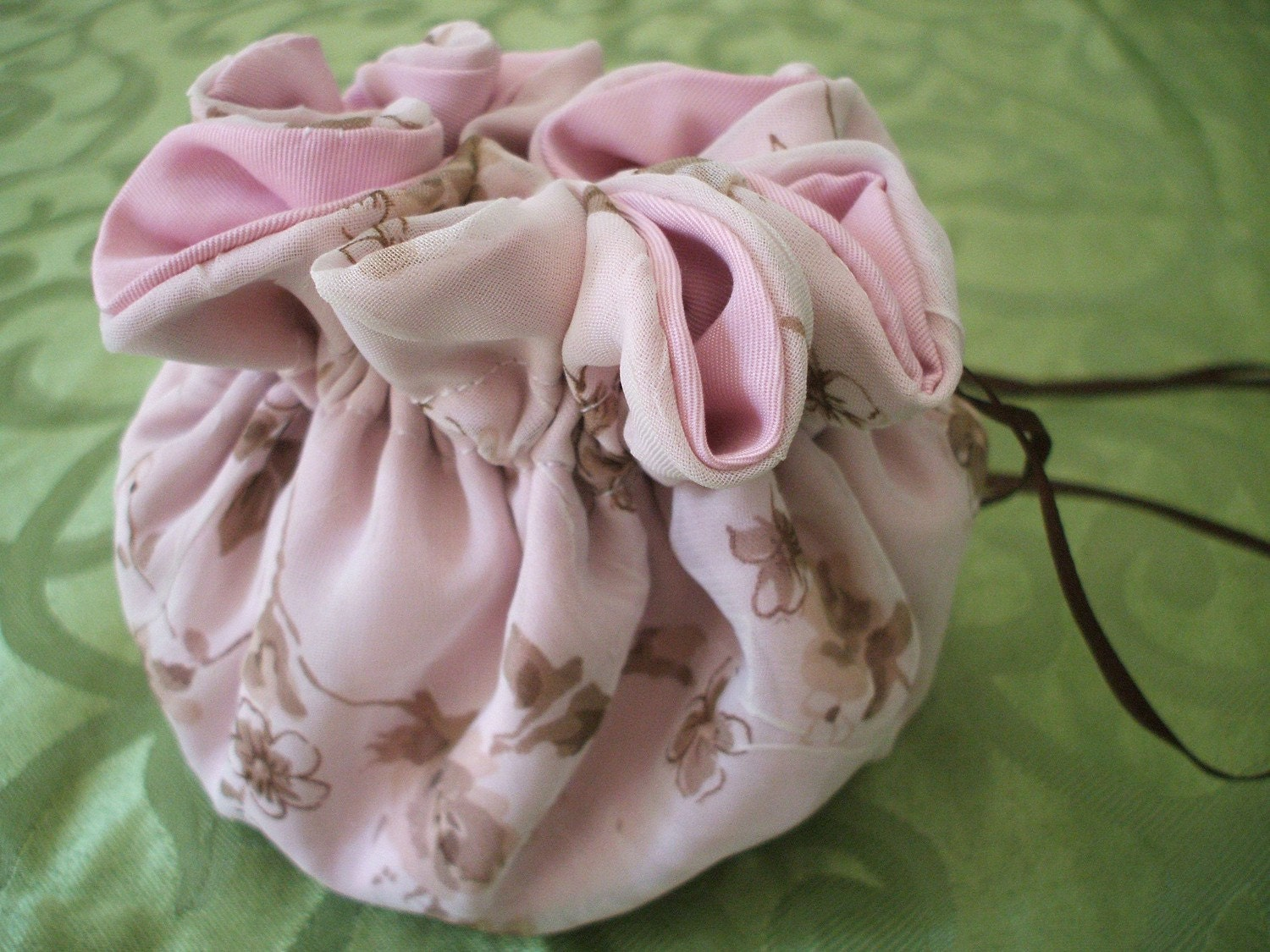 keepsake pouch for rosary chapel veil or memories in light pink