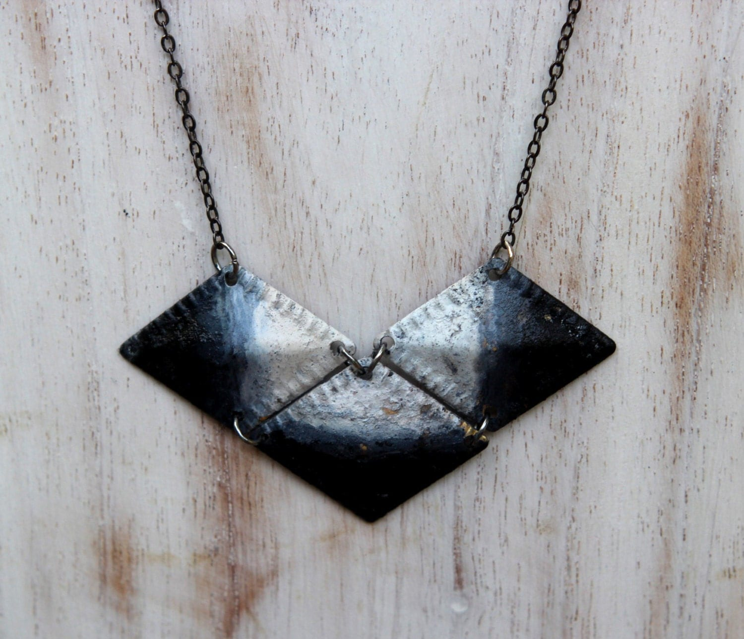 CIJ Charcoal Ombre Necklace - Geometric Diamonds in Black, Gray, Ash, White Gradient - Rustic Armor - Hand Patina - Summer Fashion - Gift B - MySelvagedLife
