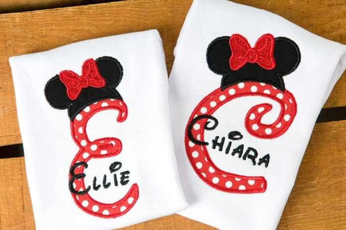 TWO Custom Mouse, Sibling Set, Minnie or Mickey Ears, Personalized YOUR Initial YOUR Name, Perfect for Disney