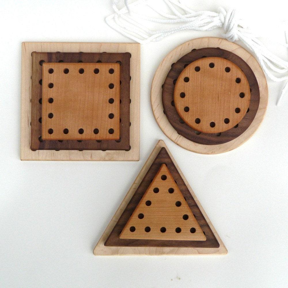 organic LACING TOY - 9 piece natural wooden developmental set