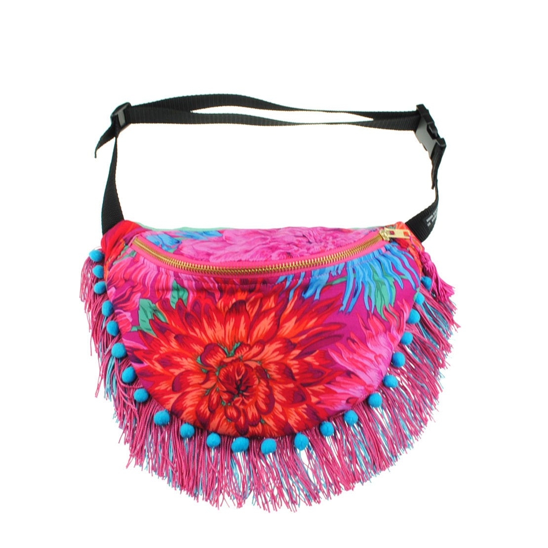 CRYZANTH in pink pompom tassel cotton bumbag or fanny pack. Limited edition. metal ykk zipper pink.