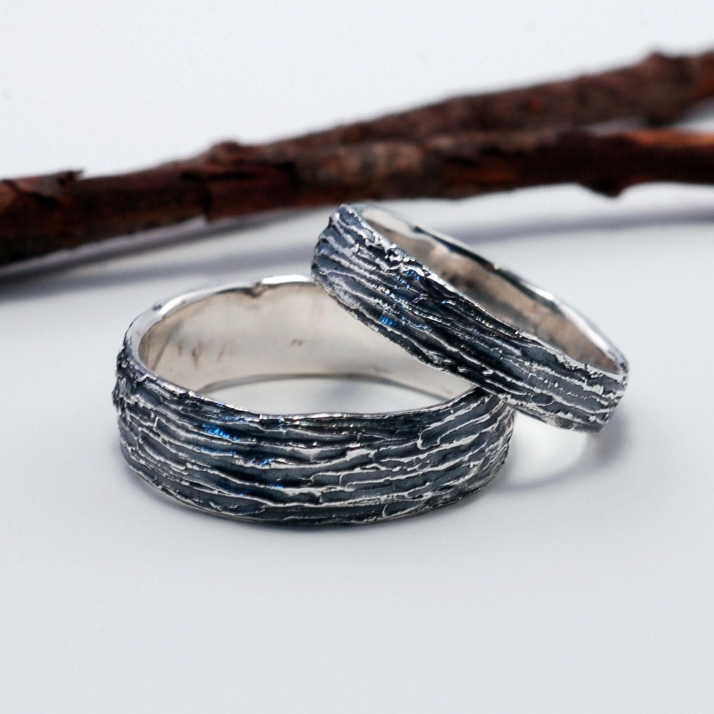 tree bark wedding rings at bcyrjewelry - Nature Inspired Wedding Rings