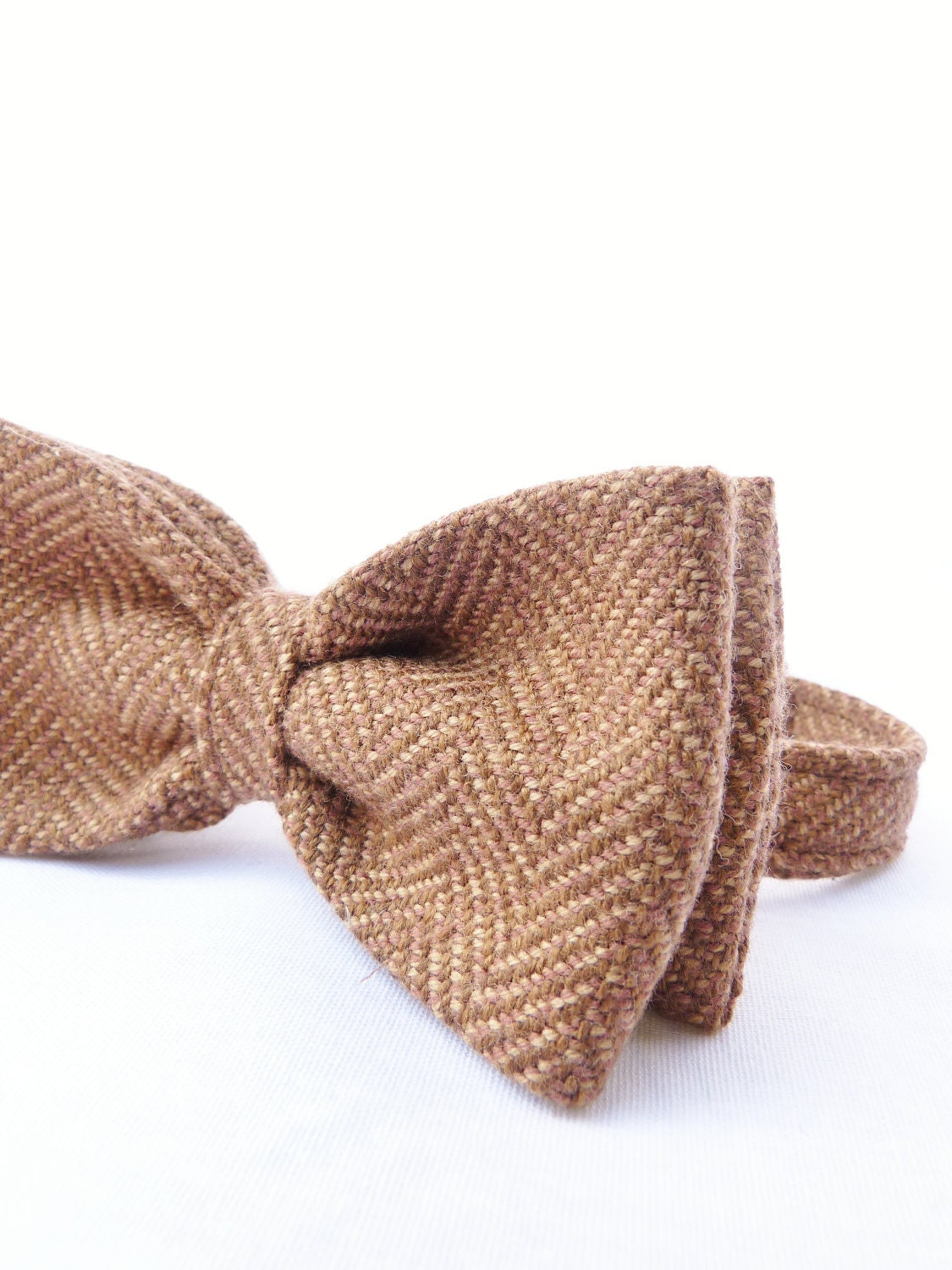 Mens Bow Tie - Cocoa Brown Irish Herringbone Tweed