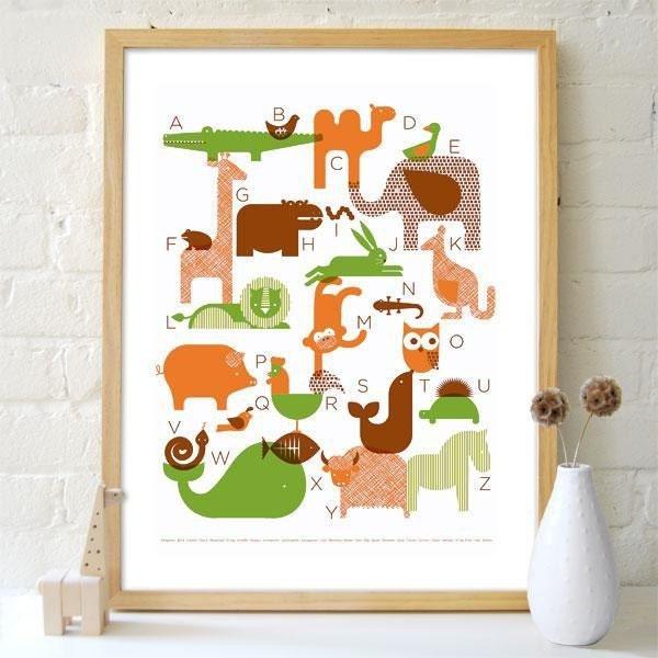FRAMED-Animal Alphabet Screenprinted Poster (ORIGINAL)
