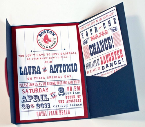 Baseball Team Themed Wedding Invitation - Customized to your Favorite Team - Printed Sample