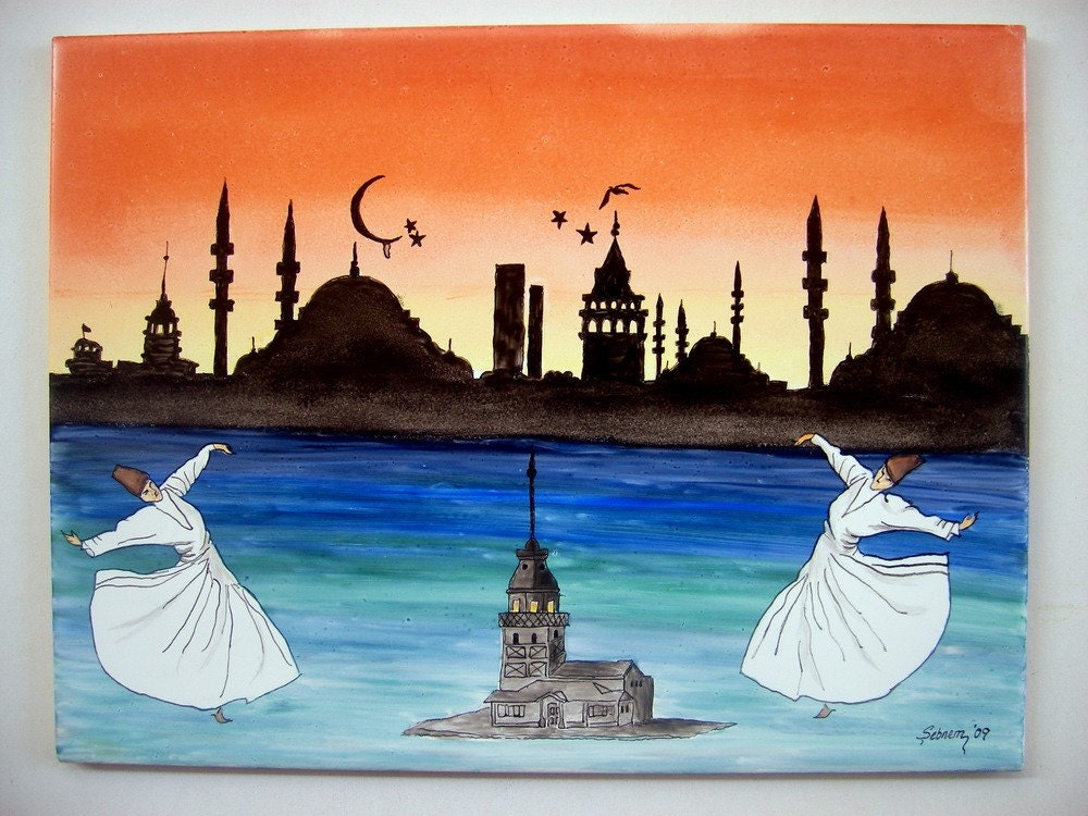Tile Wall Panel- Istanbul 2010 - European Capital of Culture - Wall Decor-FREE SHIPPING, Holidays Gifts Under 150