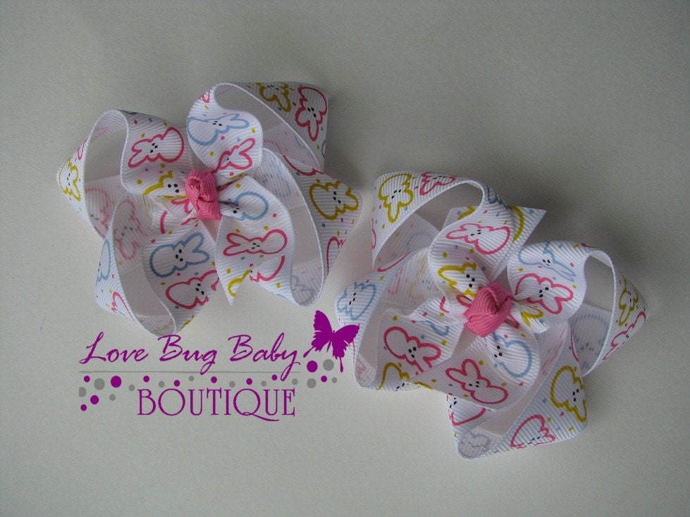 Easter PEEPS Twisted Boutique Pigtail Bows
