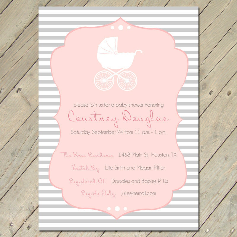 baby shower invitations vintage carriage by ollieandlulu on etsy