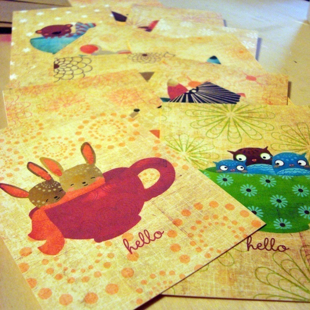 Teacups In The Little Forest Flat Notecards Postcards Set of 12