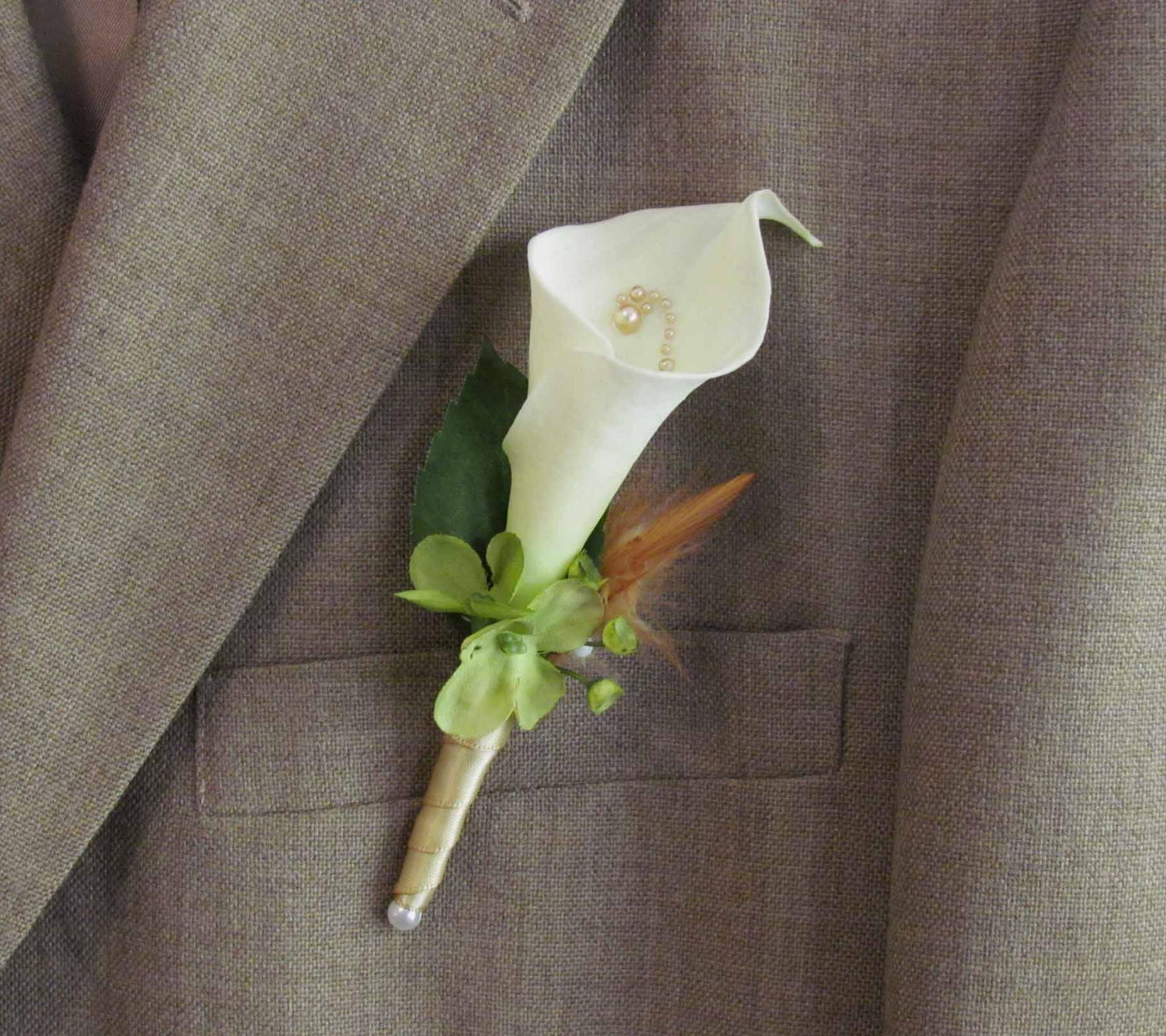 Calla Lily Boutonniere For Your Wedding By Justanns On Etsy