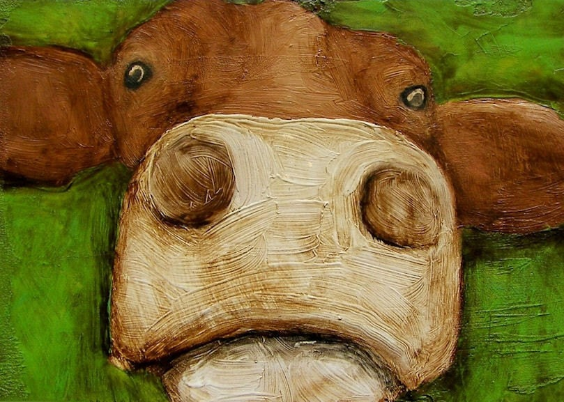 "5 x 7 IN - ""Commencing Count Down"" - Cow Farm Folk Art Giclee print from my original painting"