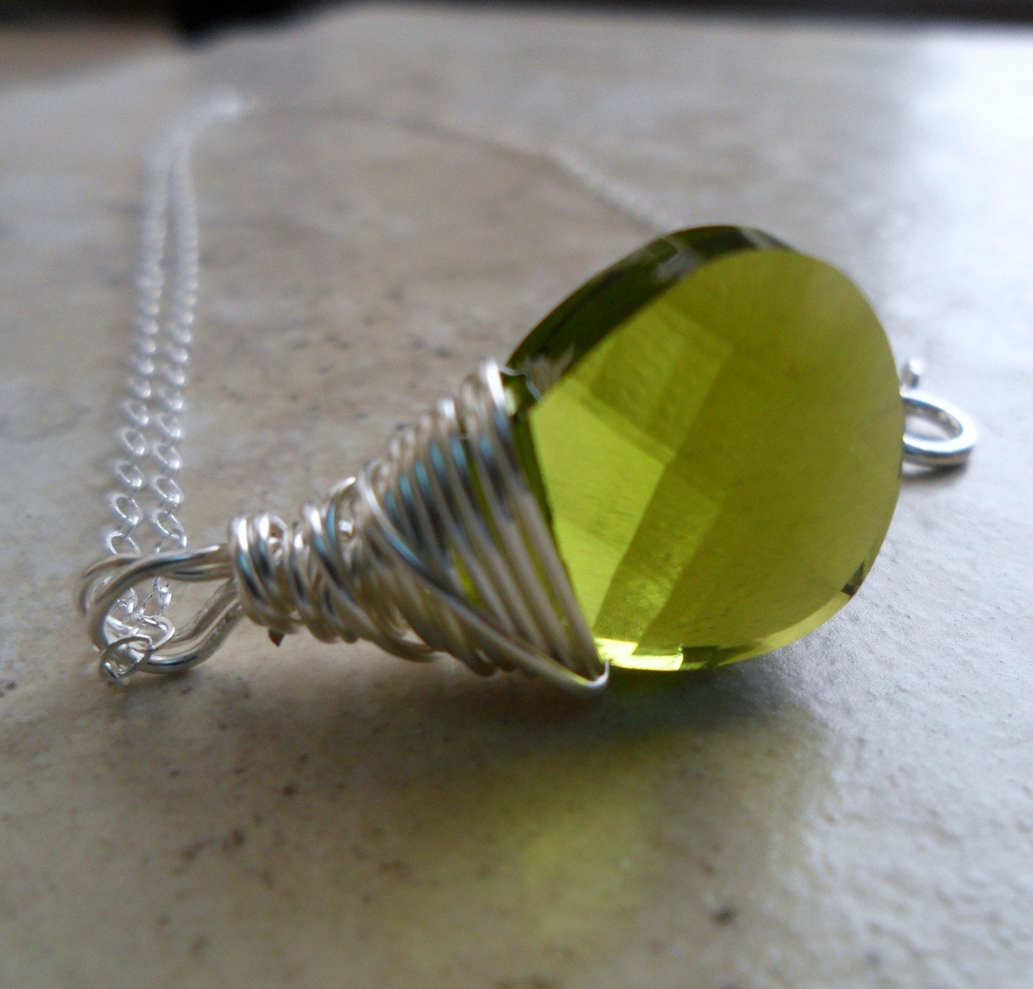 Simply Lucky Collection - Necklace.  Olivine Green and Sterling silver Lariat Pendant