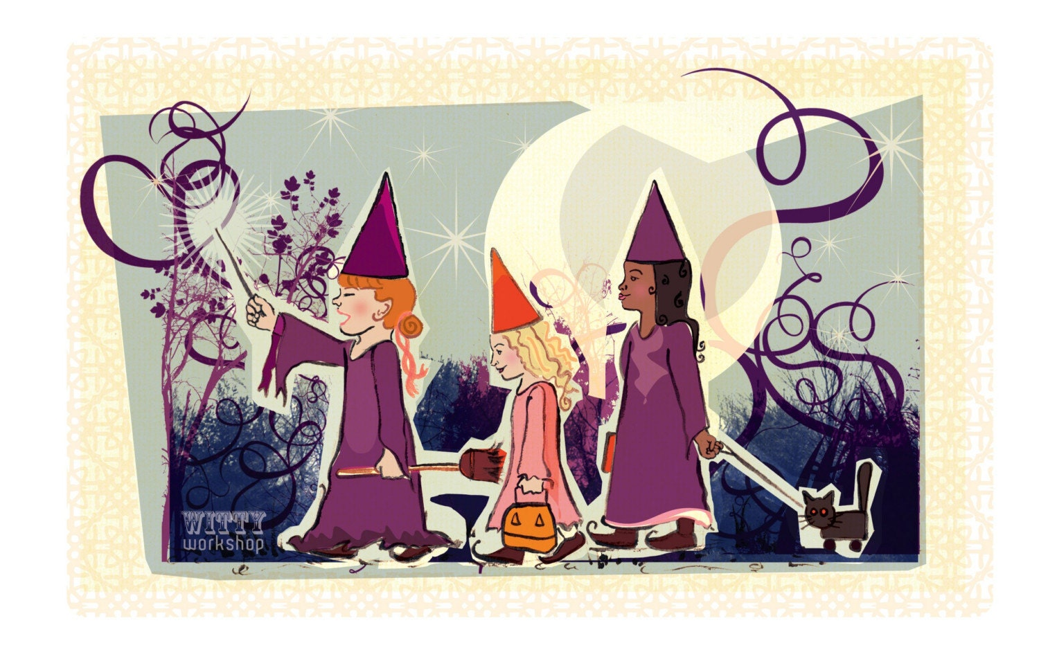 3 Little witches Halloween print