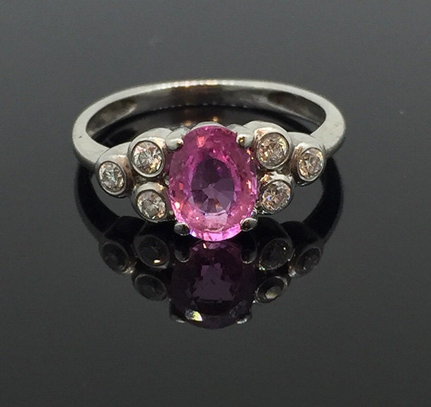 Antique Oval Cut Pink Sapphire  Diamond Ring