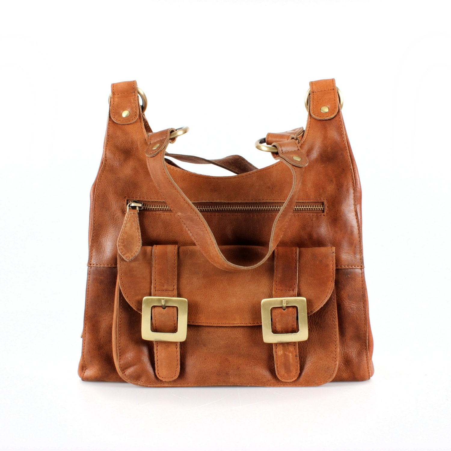 Leather Purse Shoulder Bag Handbag in Vintage Tan