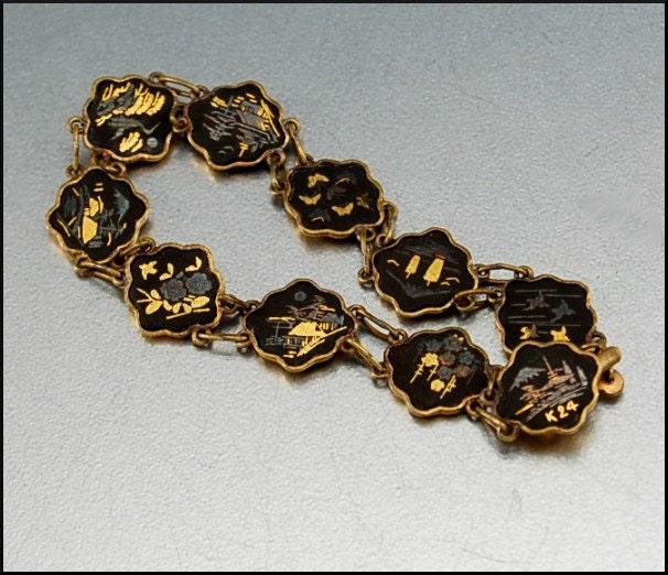 Amita Japanese Damascene 24k Gold Deco Bracelet By Boylerpf