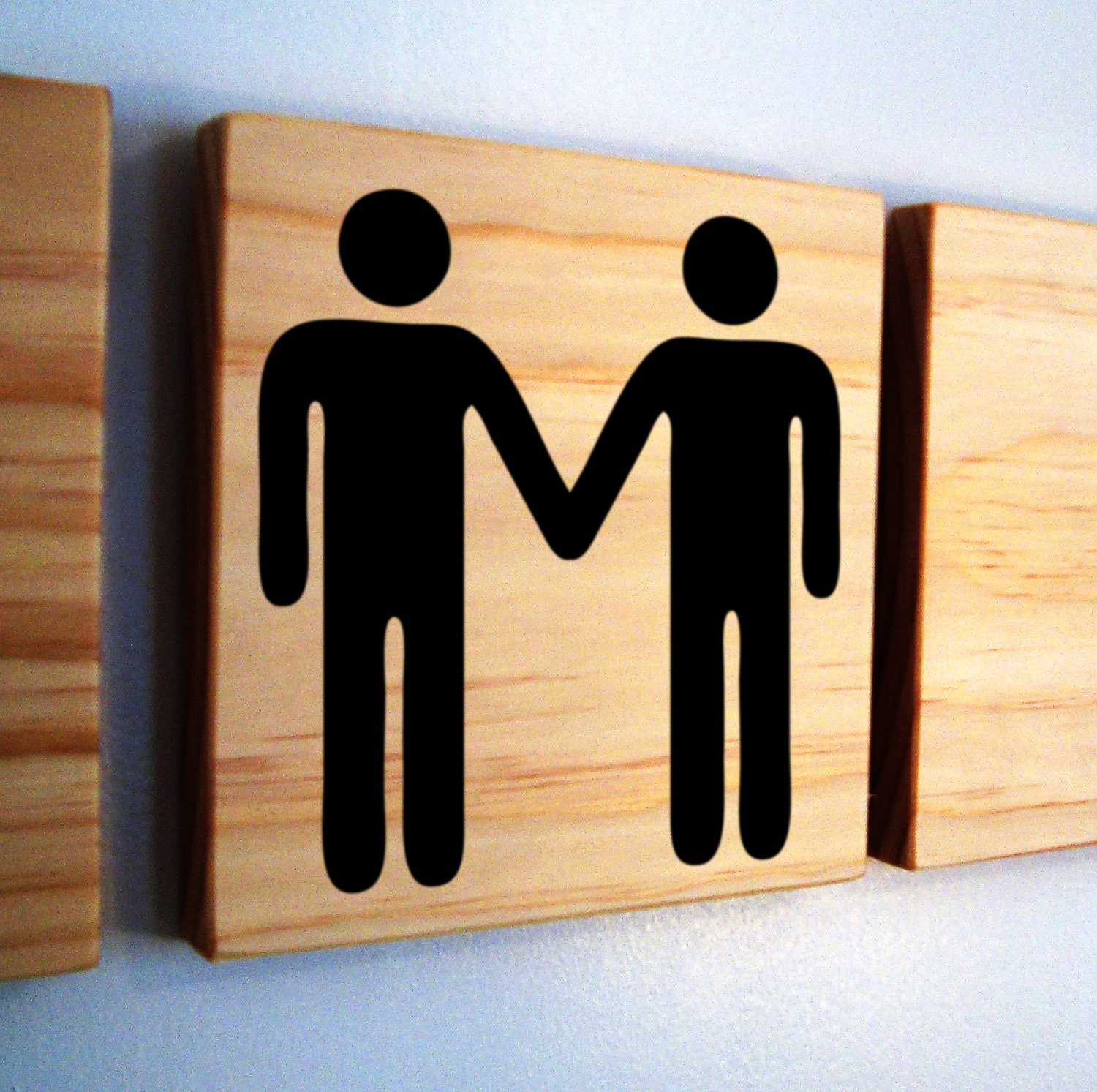 Wedding Gift Ideas For Male Gay Couple : ... hands- wooden block with custom decal- cute gay couple wedding gift