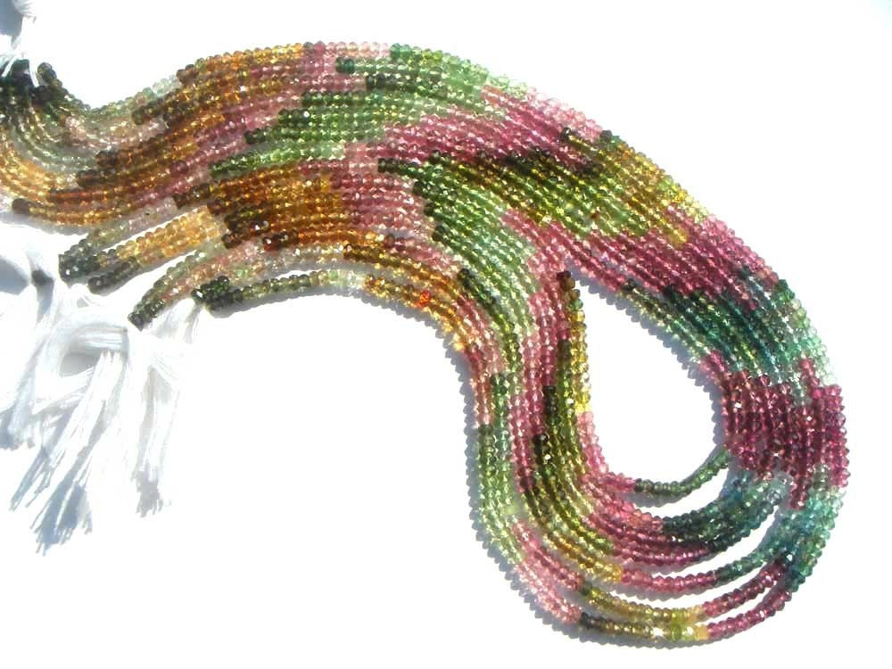 Multi Tourmaline Faceted Roundel Beads (3 mm) / 198 pieces / 28.95 carats / Quality AAA / Product Code 686
