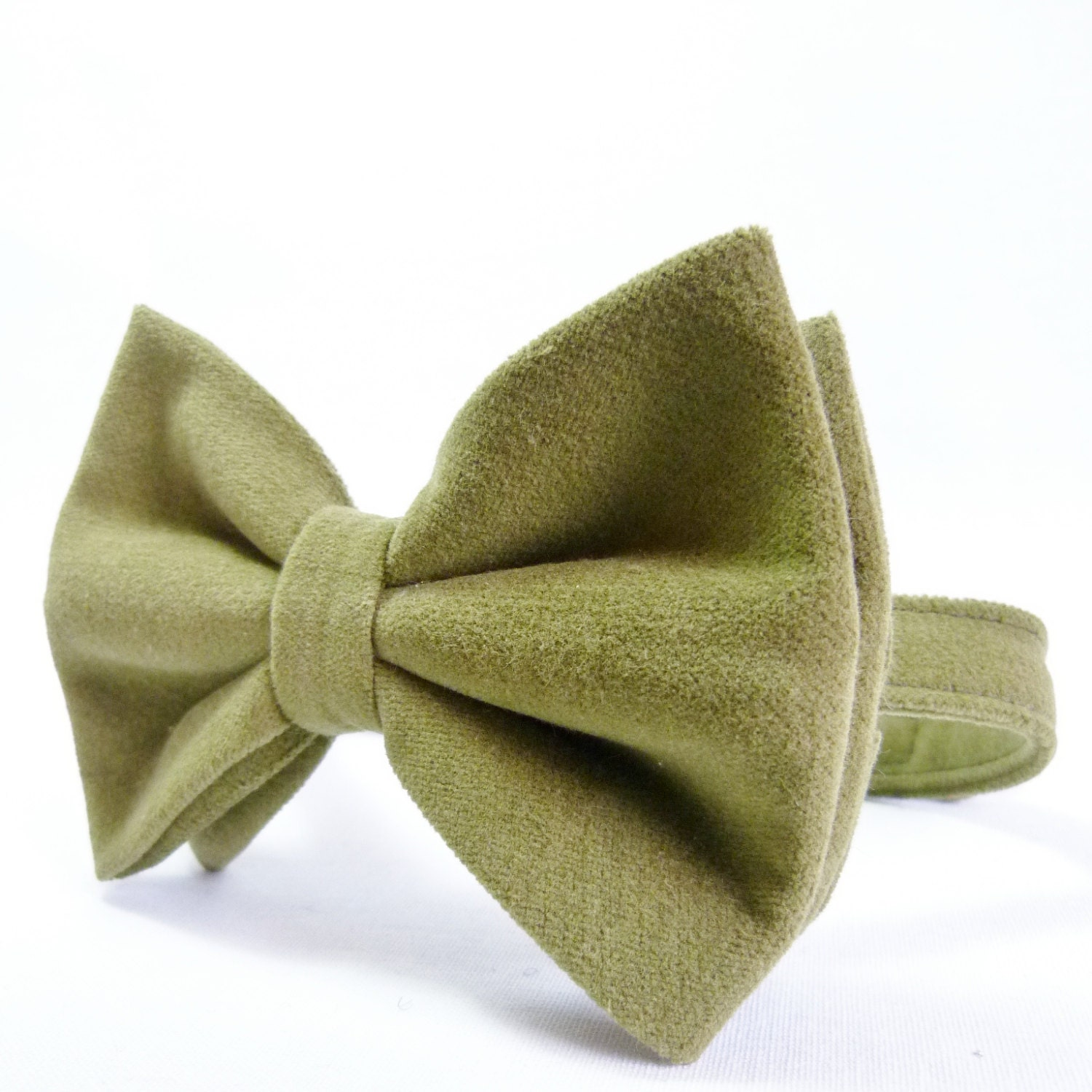 Oversized Bow Tie - Olive Green Faux Moleskin, Mens Large Bow Tie - moaningminnie