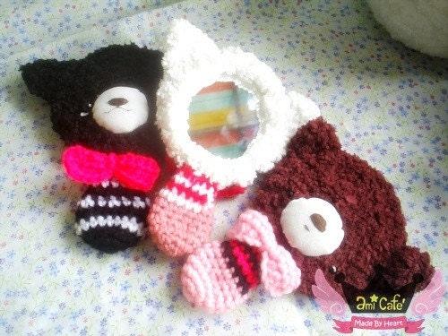 Hand Mirror - Teddy Bear Crochet (BROWN)