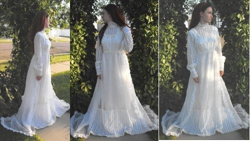 Wedding Dress SALE Vintage 70s Hippie Bridal Gown White Lace Victorian