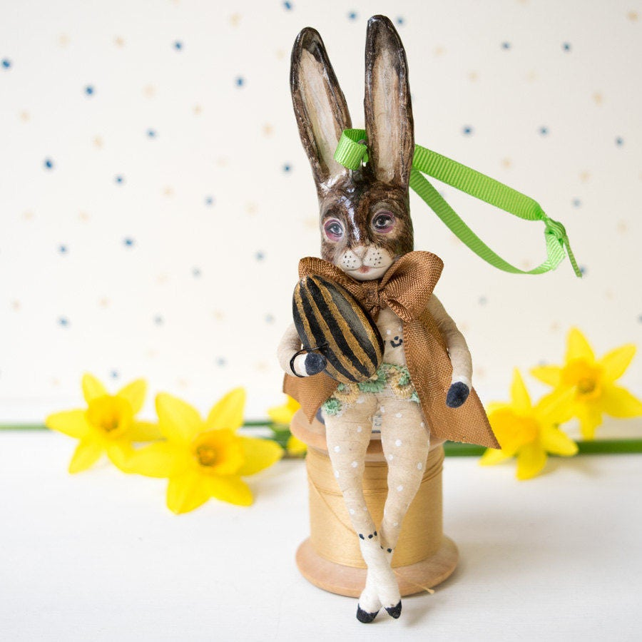 Vintage style Easter rabbit with a humbug Easter egg. Easter decoration hanging ornament Easter figurine. Easter gift. Birthday gift.