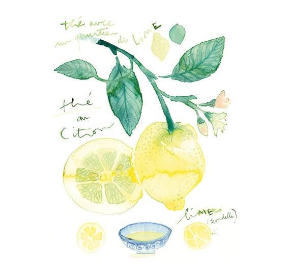 Items Similar To Lemon Tea Watercolor Painting Citrus Art