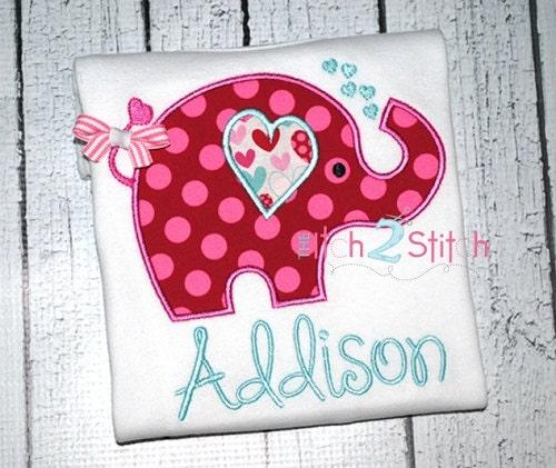 Monogrammed Valentines Day Elephant Shirt - AuntieBsBoutique87