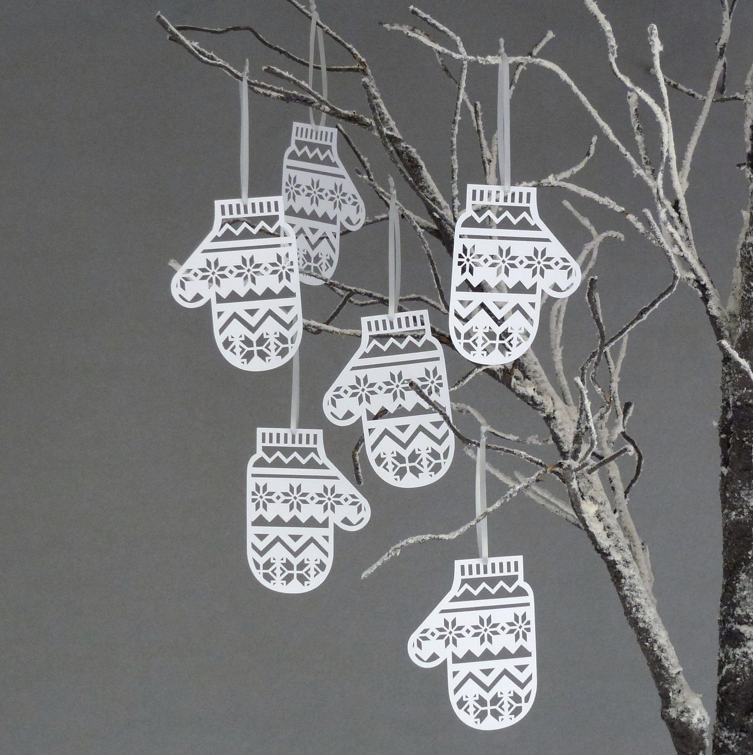 Set of Six Papercut Mitten Christmas Tree Decorations - sarahlouisematthews
