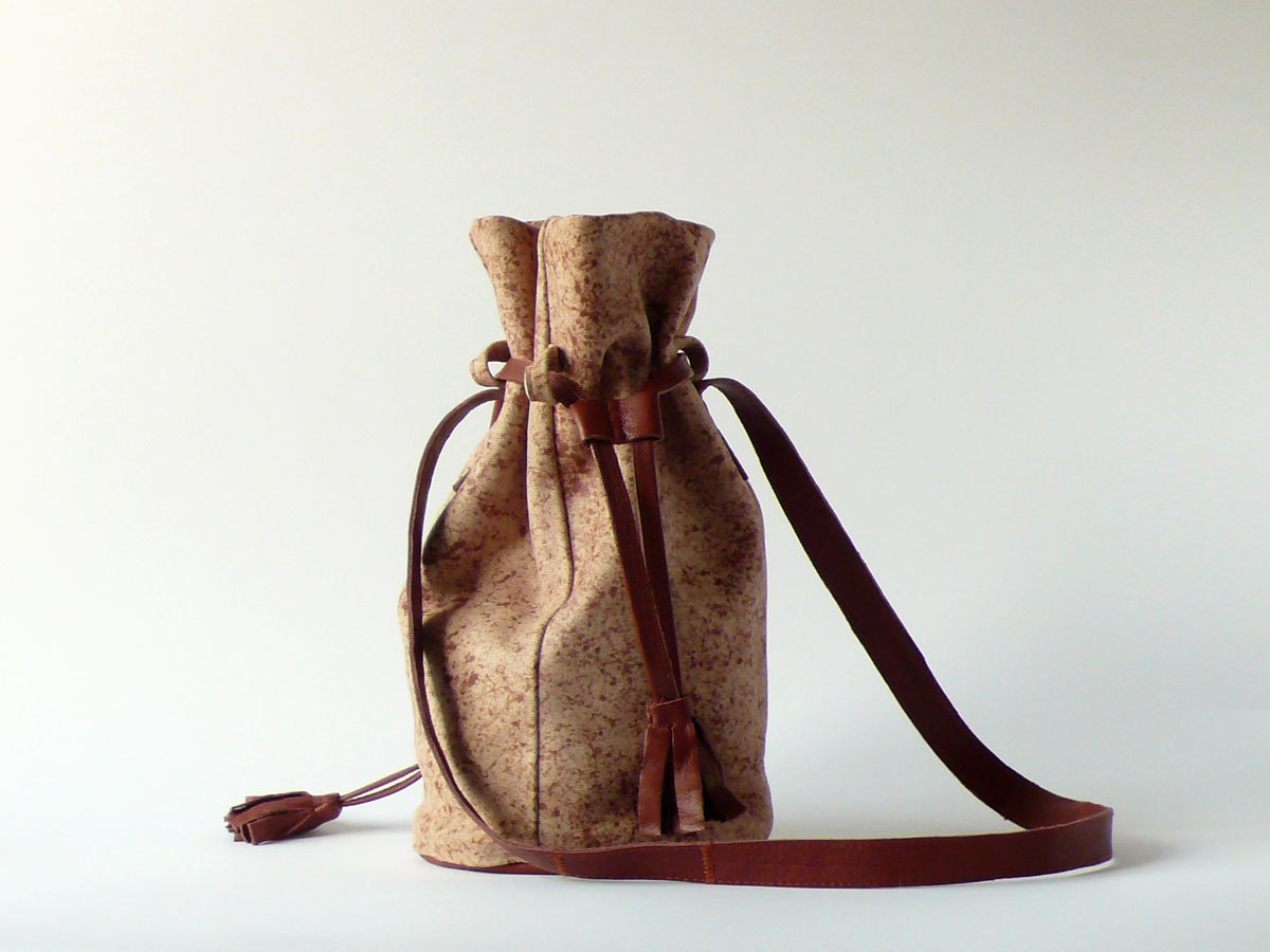 soft leather suede drawstring bucket bag in beige & brown / simple leather purse in quail egg pattern / pouch with tassel / shoulder handbag - Aplauz