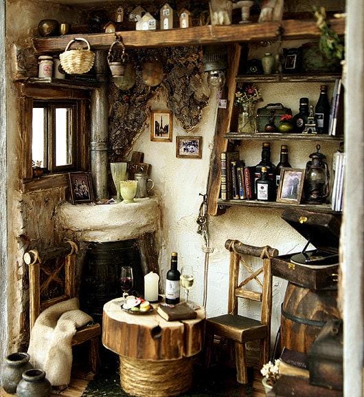 Handmade cottage interior in miniature