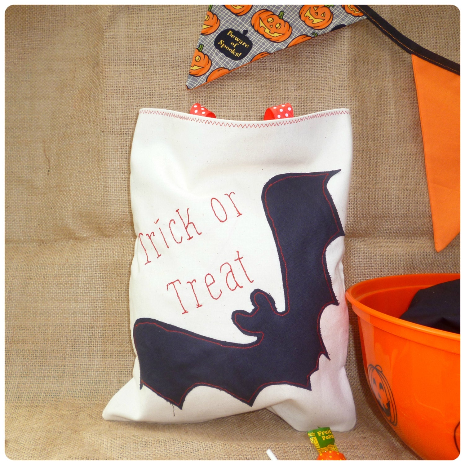 Personalised Halloween Treat Bag Trick or Treat Bag Personalised Bat Bag Candy Sweetie bag Vampire Costume Loot Bag Goody Bag
