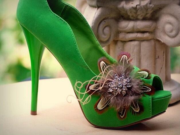 Flirty clips shoes handmade Couture Rhinestone Bridal bride bride Autumn Autumn fashion an elegant and stylish boudoir Bronze Copper Gold
