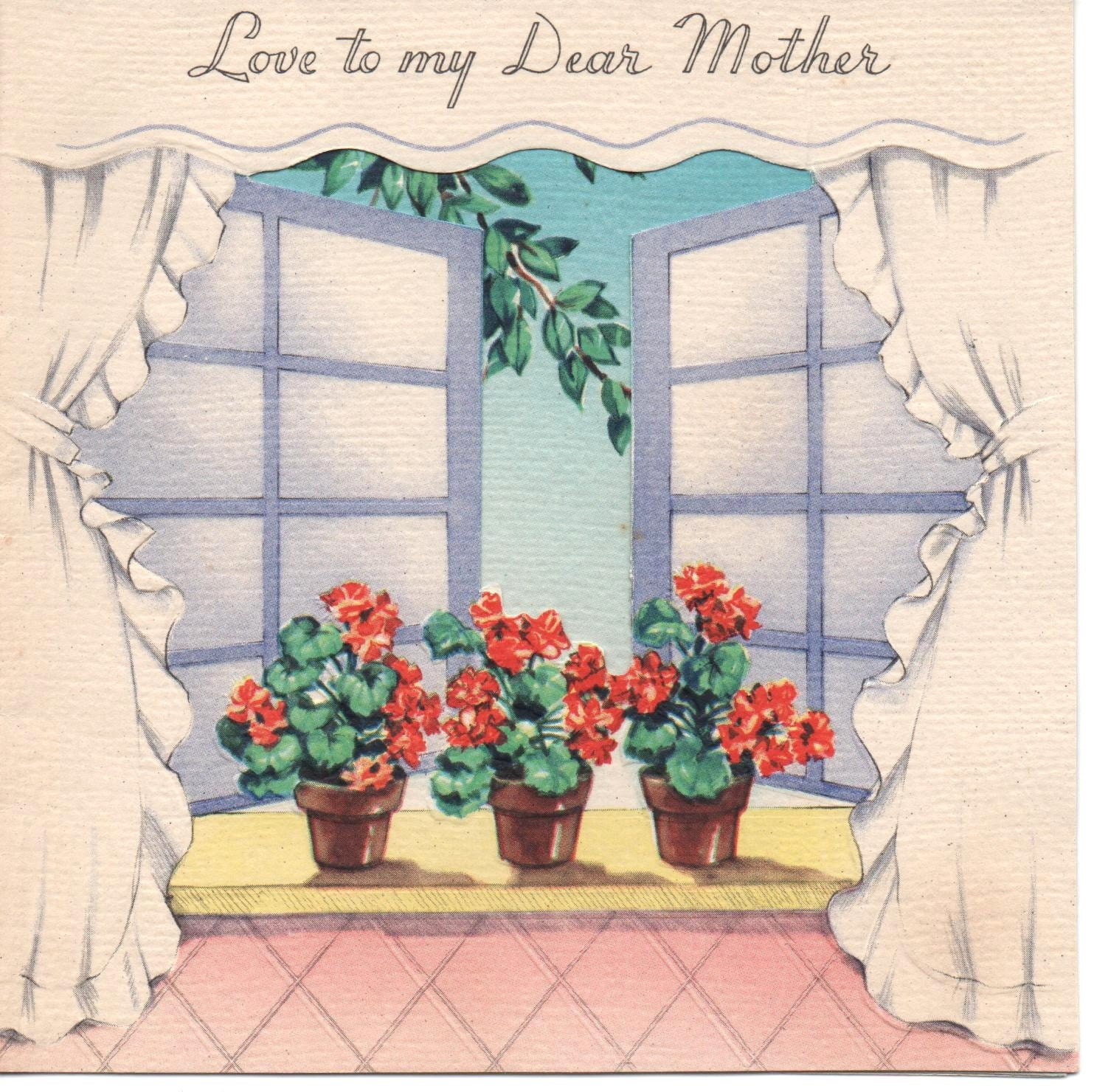 "VINTAGE Greeting Card MOTHER'S Day 1942 ""Love to my Dear Mother"""