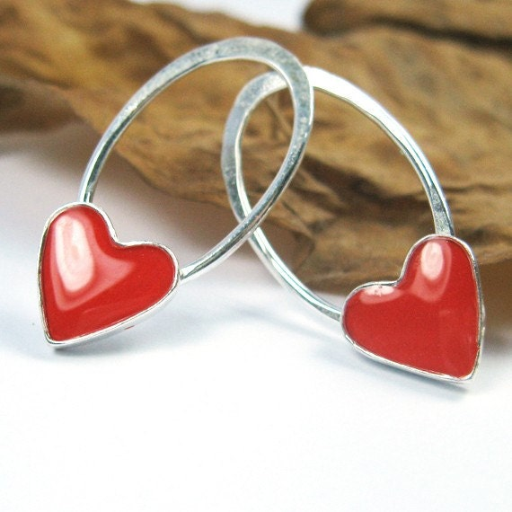 Ellipse And red Heart - Silver stud Earrings