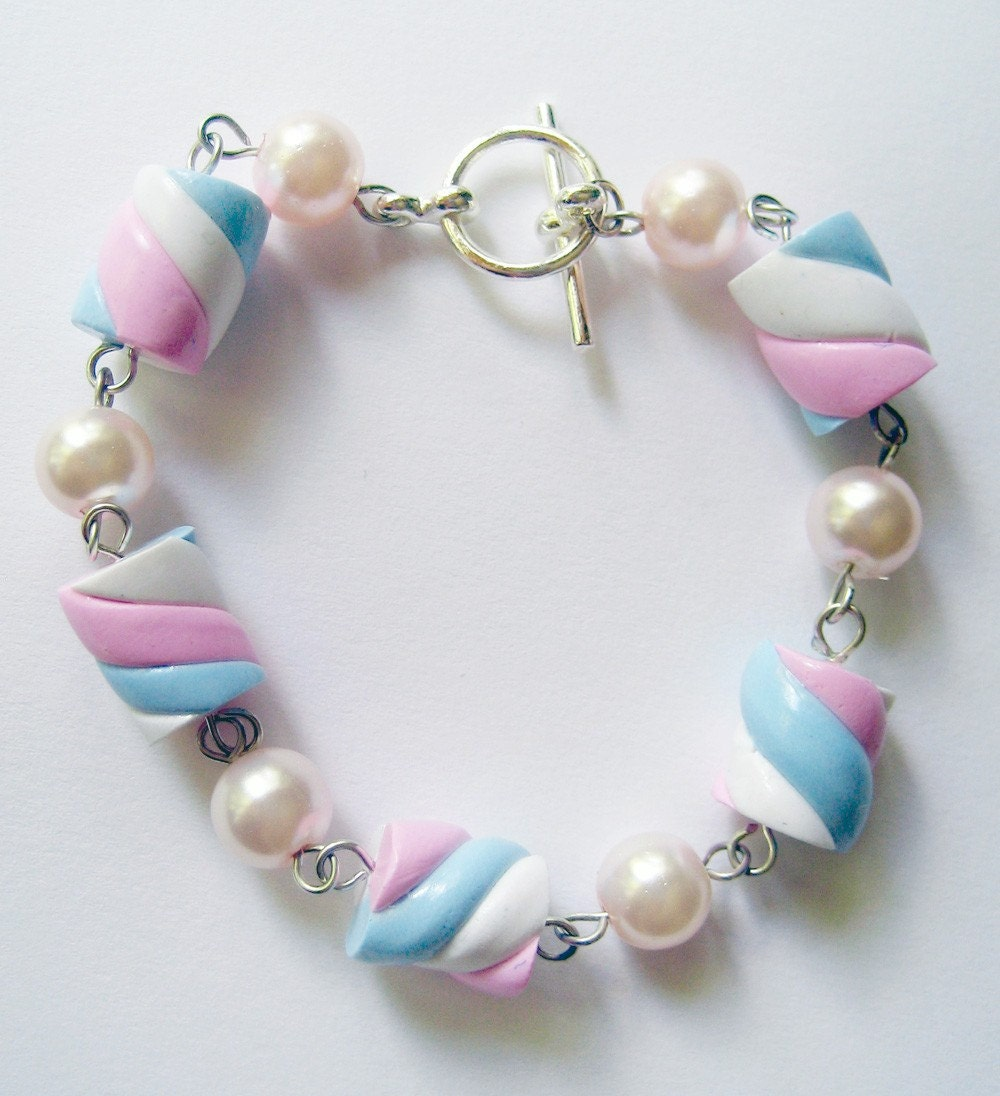 Pink, White and Blue Marshmallow Bracelet-Silver