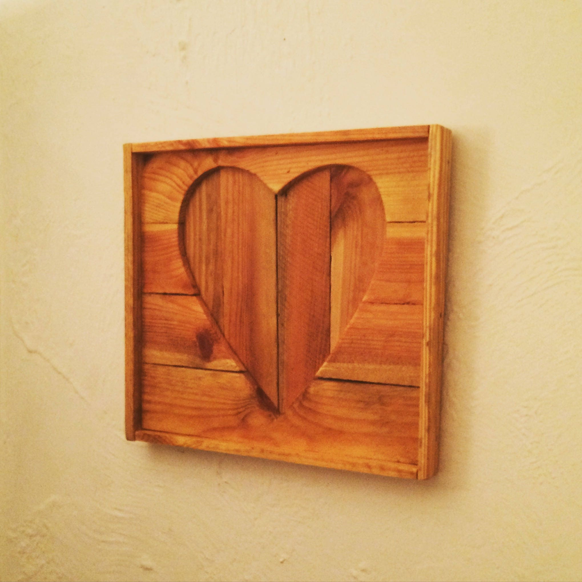 Rustic reclaimed wooden heart wall hanging  outline cutout picture  home decor  apple crate wood