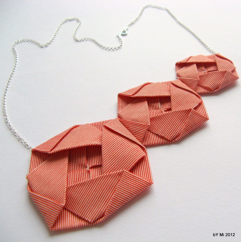 items similar to origami rose necklace fabric origami