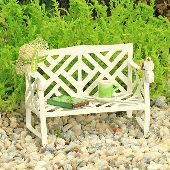 Lazy Days White Garden Bench with sunhat tiny book teacup and saucer tiny bird Green Collection  Fairy Garden Furniture Accessories