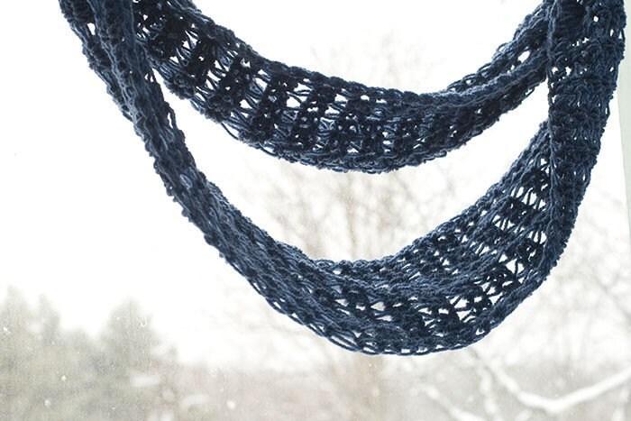 Eternity Scarf,  Blue Infinity Scarf,  Crocheted Moebius,  Winter Cowl Scarf - beadedwire