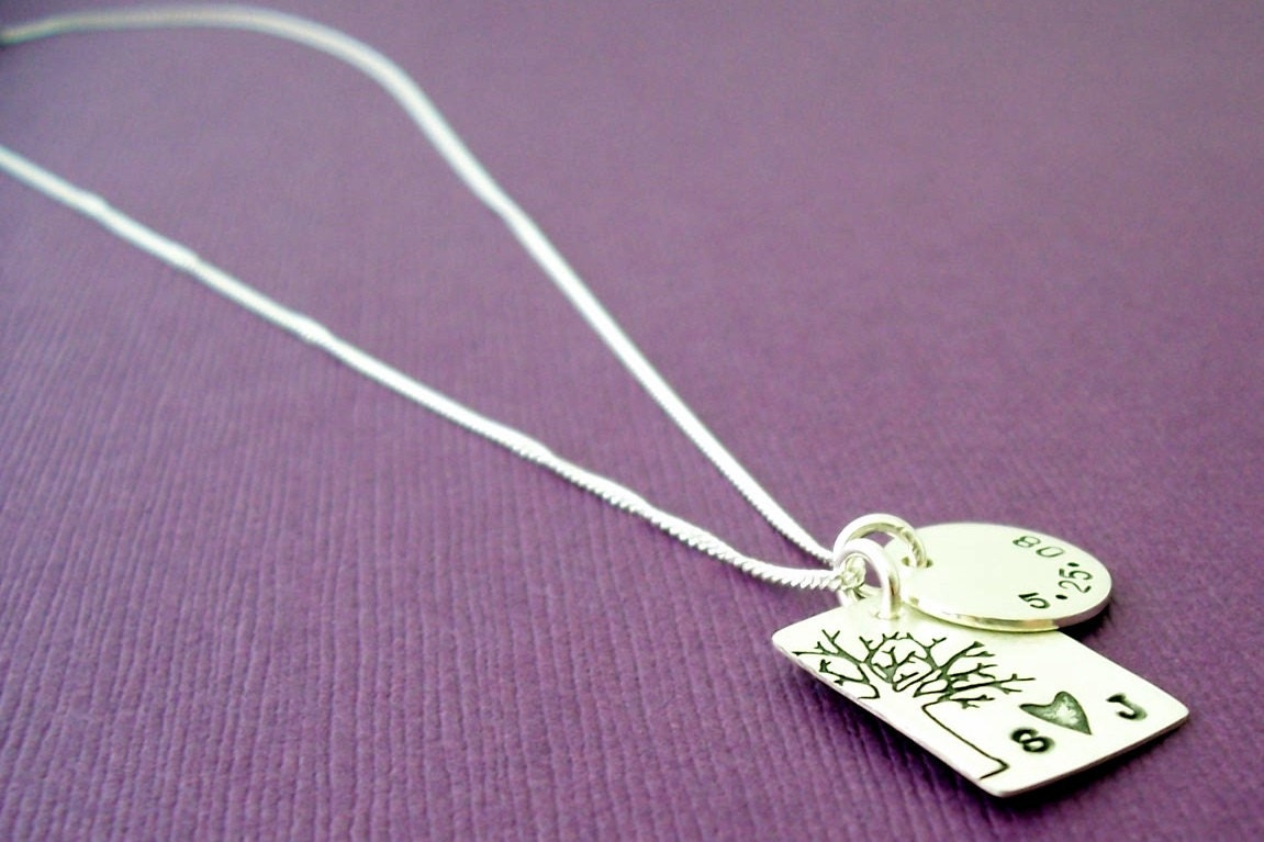 Under the Oak Tree Pendant - Custom Hand Stamped Sterling Silver by EWD