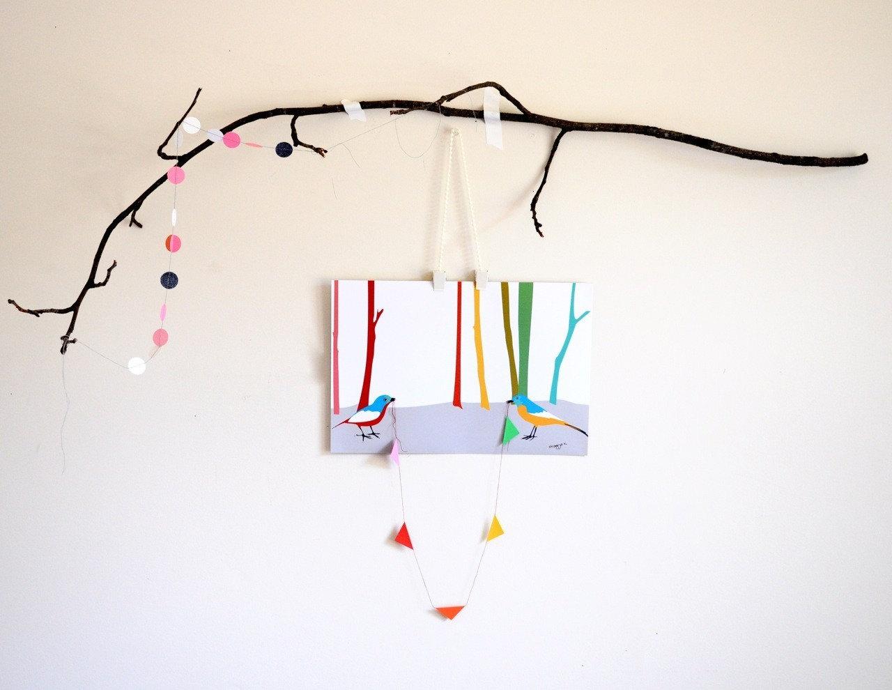 Rainbow trees, One of a kind 3d bird art
