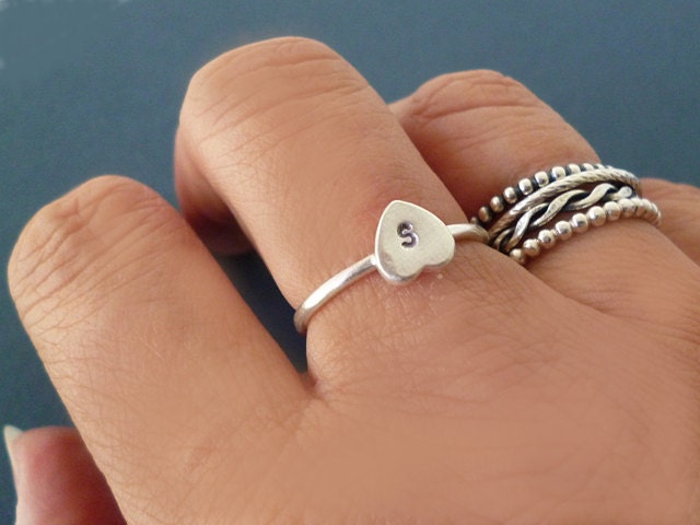 Tiny Heart Ring with Initials Personalised Silver Heart Initial Ring Heart with Initial Monogram Custom Jewellery Anniversary Gift.